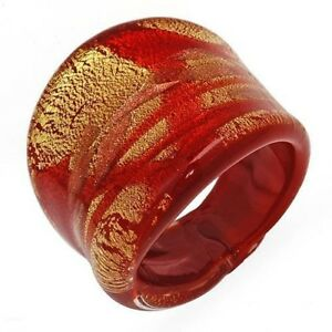 Genuine Murano Glass Ring Made in Italy 24k Gold