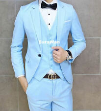 CUSTOM MADE BABY BLUE GROOM SUIT MEN SUIT,BESPOKE TAILORED SKY BLUE MEN TUXEDOS