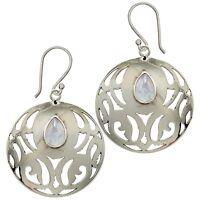 Moonstone Medallion Dangle Earrings 925 Sterling Silver Hooks Gift Boxed - NEW