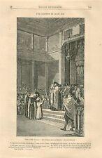 Cérémonie de Culte Juif Synagogue par Brandon GRAVURE ANTIQUE OLD PRINT 1870