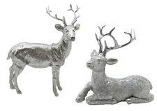 2er Set Hirsch silber stehend liegend Dekofigur Hirschfigur Weihnachtsdeko