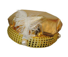 Arabian Gold Lamé Prince Princess Gypsy Fortune Teller Feather Plume Costume Hat