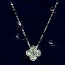 925 silver pendant simulated diamond clover flower chain necklace 40cm