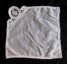 Ancien mouchoir en coton et dentelle - linge ancien