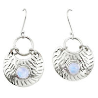 925 Sterling Silver 3.04cts Natural Rainbow Moonstone Earrings Jewelry P11399