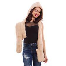 Gorro capucha bufanda guantes mujer calido suve beige inviernopiel artificial