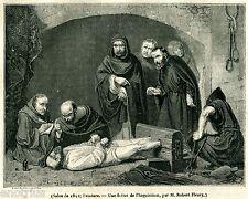 Inquisizione: interrogatorio con tortura. Stampa Antica + Passepartout. 1841