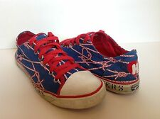 Harajuku Lovers Shoes - Hearts and Nautical Ropes - Size 8 Red White Blue