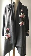 Ladies Gorgeous Grey Floral Embroidered Wrap Cardigan Size L