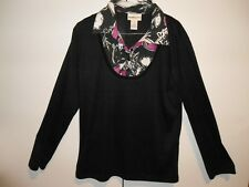 Women's blouse MILLER'S brand--black with floral pattern--size: L