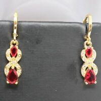 Large 1Ct Pear Red Ruby Dangle Earrings Jewelry Gift 14K Yellow Gold Plated