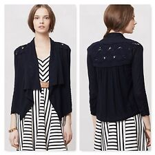 Anthropologie Knitted & Knotted Draped Flaneur Cardigan navy sweater cableknit