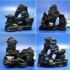 Lots 4 pcs Aquarium Ornament tree Rock Cave stone decoration house Bridge AK669