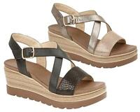 Ladies Womens Sandals Crossover Buckle Strap Casual Wedge Shoes Size
