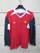 VINTAGE Maillot rugby QUINZE DE FRANCE rouge NIKE training shirt coton L