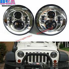 "2X 7"" LED Projector Round Headlights Chrome Housing Low/High H6024 H6012 (Pair)"