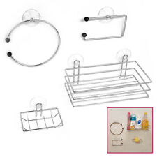 Chrome Wire Bathroom Shower Accessories Set Kit Modern Suction Easy Fitting UKED