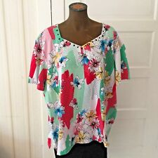 893430c7f3477 Alfred Dunner Woman Studs Sweetheart Neck Floral Knit Top Blouse 3x