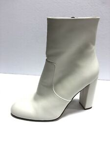 Steve Madden, Women's Editor White Leather Ankle Boots, Size 8M