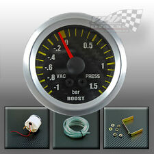 "Boost turbo gauge carbon dial face silver surround interior dash  52mm 2"" BAR"