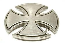 Iron Cross Belt Buckle Silver Color Black Outline Heavy Metal