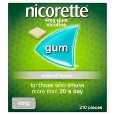 Nicorette Original Chewing Gum, 4 mg, 210 Pieces (Stop Smoking Aid) - Packagi...