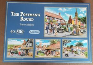JIGSAW Gibsons The Postman's Round 4x500 Piece Puzzles Trevor Mitchell COMPLETE