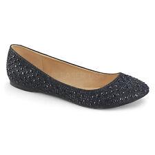 Silver Rhinestone Ballet Flats Vintage Wedding Low Heels Shoes size 8 9 10 11 12