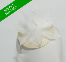 Beautiful Fascinator HAND MADE- Hat Race White Fur for Racing and Events
