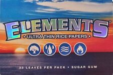 Elements Ultra Thin 1 1/2 Cigarette Rice Rolling Papers - Lot of 5 Packs