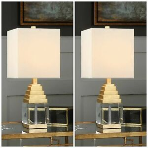 TWO PYRAMID METALLIC GOLD LEAF ANUBIS ACCENT TABLE LAMPS UTTERMOST 29561