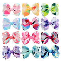 12 Pcs Baby/girl Child Grosgrain Ribbon Bow Hair Clip Pin Aligator Clips Flower