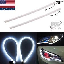 2x 45cm 12V Xenon White LED Flexible Headlight Daytime Running Strip DRL Tube