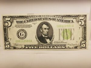 1934 $5.00 FRN Dark Green Seal, In Extremely Fine Condition.