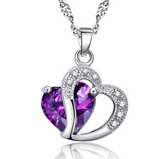 Sterling Silver Plated Amethyst Double Heart CZ Fashion Pendant Necklace