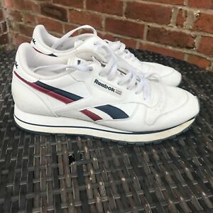REEBOK CLASSIC WHITE TRAINERS MEN'S USED CONDITION SIZE UK 8