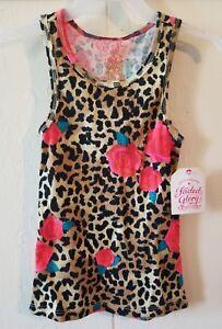 NWT Faded Glory Girls Multicolor Cheetah Print Tank Top, Size XS (4-5)