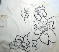 Womens Christopher & Banks M Medium Ivory Black Floral Sweater Cardigan 3/4 Sl