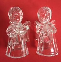 """Set of Two Vintage Crystal Angel Mini Taper Candle Holders 4""""Tall"""