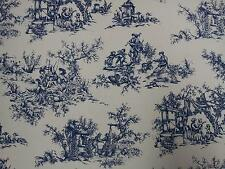 Toile Blue on Ivory Background Designer Curtain Upholstery Fabric