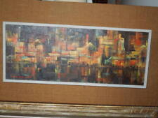 1950's modernist, oil painting by Emilie Atlee,1915 -2013, city scene