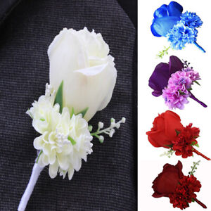 Artificial Silk Rose Flower Boutonniere Wedding Prom Groom Groomsmen Corsage