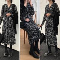 Womens Long Sleeve V Neck Floral Vintage Party Dresses Casual Shirt Dress Kaftan