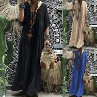 ZANZEA Women Low Cut Long Maxi Dress Hollow Out Crochet Full Length Shirt Dress