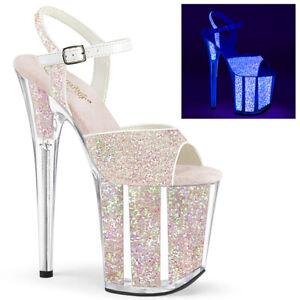 """Pleaser 8"""" UV glitter opal ankle strap sandals"""