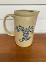 Vintage Mccoy Pottery Ceramic Pitcher Bluefield 1429 USA Cream W/ Blue Design 7""