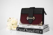 Box Trunk Bag in Burgundy With Gold Chain - Penelope Rose Boutique