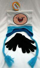 Adventure Time Finn Laplander Peruvian Beanie Hat Cap and Black Knitted Gloves