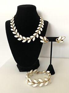 Vintage ~TRIFARI ~ White Milk Glass Leaves Necklace ,Bracelet , Earrings Set
