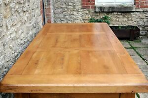 Grand Plank Top Solid Oak French Farmhouse Refectory inc 2 Drawers